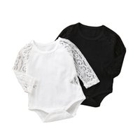Baby Girls Lace Rompers Infant Solid Colors Long Sleeve Romp...
