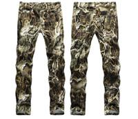 Hombre Snake Skin Print Camoflague Original Slim Hip Hop Hop Jeans Pantalones Hombres Jeans Skin Streetwear 29-38