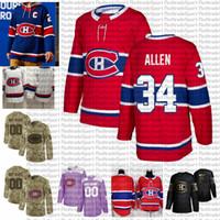 2021 Retro Retro Personalizar # 34 Jake Allen Montreal Canadiens Hóquei Jerseys Golden Edition Camo Veterans Dia Luta Cancer