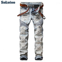 Sokotoo Uomo Casual House Holes Squipped Biker Jeans per Moto Vintage Light Blue Slim Direct Dyim Denim Pants Long Pantaloni 1