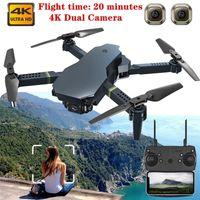 4K HD 와이드 앵글 듀얼 카메라 드론 WiFi FPV 무인 항공기가있는 새로운 미니 드론 RC Quadcopter Selfie Dron Kids Toys Gifts Drones 201208