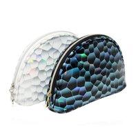 2020 مصمم جديد قذيفة حقيبة مستحضرات التجميل الجمال أزياء حقيبة تخزين الإبداعية نصف دائرة دالتون PVC حقيبة مستحضرات التجميل