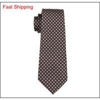 Classic Seta Ties Ties Brown Mens Cravatte Dot Tie Set Tie Hankerchief Gemelli Jacquard Tessuto Meeting Business We Qylsrg Nana_Shop