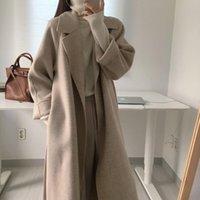 الصوف المرأة يمزج qiqueen الخريف الشتاء 2021 المرأة أنيقة معطف طويل مع حزام بلون الأكمام أنيقة قميص السيدات معطف