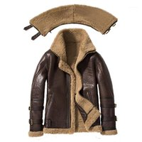 남성용 가죽 가짜 이중 칼라 2021 Sani 두꺼운 진짜 양모 모피 재킷 자연 깎아 낸 코트 겨울 남성 따뜻한 의류 1