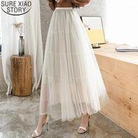 Jupes Casual Solide Long Tulle Jupe Pequine Femmes Été Coréen High Taille High Taille Mesh Femme Vêtements 8964 501