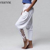 요가 복장 Vertvie 2021 필라테스 바지 여성 부드러운 솔리드 레이스 Up Jogger Harem 체육관 피트니스 느슨한 붕대 높은 허리 포켓지