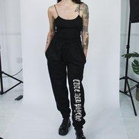 Rap Fwriter Fashion Side Stripe Letter Sweatpants Mulheres 2018 Outono Estiramento Alto Cintura Lápis Streetwear Carga Basculador Pais Calças T200407