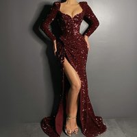 Burgundy Sequins Evening Dresses With Long Sleeves Mermaid H...