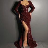 Robe de soirée de paillettes Bourgogne avec manches longues Sirène High Split Sermaid Pal Robe De La robe Robe royale bleue