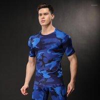 Hamek Men Camouflage спортивная футболка фитнес тренажерный зал беговые колготки баскетбол быстрый сухой сжатие под рубашками для тренировки йога1