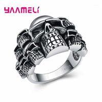 Anéis de cluster nice qualidade cosplay jóias anel para mulheres homens negros retro crânio design hallowmas presentes 925 jóias de prata esterlina1