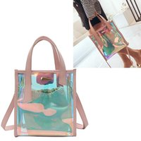 NEU Damen Bucket Bag PVC Umhängetasche Hologram Laser-Hand Jelly Transparent Totes rosa