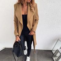 Женская шерстяная смесь длинные пальто женские ослабесы широкий воротник открытый передний кардиган куртка офис теплые пальто женские женские дамы Manteau Femme1