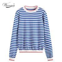 Warmsway Thin gestrickte T-Shirt Frauen-Kleidung 2020 Sommer-Frauen Langarm-T-Shirts Tops lässiges T-Shirt Weibliche B-019 A1112 Gestreifte
