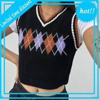 Artsu Женщины Argyle Plate Используется танковая уличная одежда Preppy Style Girls Herfst V-образным вырезом Приложения вязание жилет черный урожай