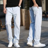Primavera ed estate New Men's Blue Blue Jeans Thin Jeans Fashion Waving White Slip Straight High Elasticity Pantaloni Casual Brand maschio