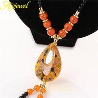Anhänger Halsketten Ajojewel Marke Gelb Lampwork Glas Schmuck Vintage Halskette Zubehör Für Frauen