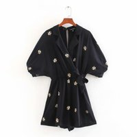 New Women Fashion Batwing Manga Flor Bordado Siamese Lady Back Cremallera Kimono Sumpsuits Chic Bow Pie ​​Mods Minamistas
