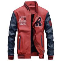2020 Jaqueta de couro de Inverno Homens Bomber Baseball Jacket Pu Faux Homens velo Colégio Top de couro preto Slim Fit Motorcycle