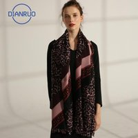 DIANRUO Urban Capable Women Scarf Fashion Leopard Patchwork Silk Scarves Shawls Lady Dark Brown Wraps Soft Pashimina Female N529