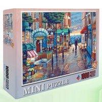 Hommat Puzzle-Puzzles für Erwachsene Kinder Puzzle 1000 Stück Europa Paris Town Rainy Street Walk Eine Hundelandschaft Pädagogisches Spielzeug T200421