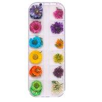 Nail Art Décorations Drop Fashion Véritable Fleurs séchées Véritable 3D Décor Design Conseils de bricolage Manucure 12 couleurs SMJ