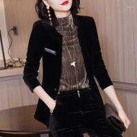 Altın Kadife Bayanlar Blazers Siyah Ceket Bayan Blazers Uzun Kollu Ceketler Blezer Feminina Kadın Ceket Chaquetas Mujer1