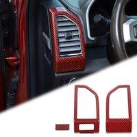 Kırmızı Karbon Fiber İç Kontrol Paneli Hava Çıkış Vent Kapak Çerçevesi Ford F150 2015 Için ABS İç Aksesuarlar