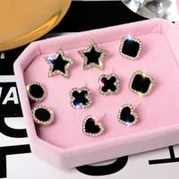 S925 Silver Silver Negro Rhinestone Stud Pendientes Clover Star Love Heart Pendientes Joyería Linda Moda Niña Joyería Regalo para Mujeres