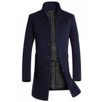 Men's Wool & Blends Winter Coat Slim Fit Jackets Mens Casual Warm Long Windbreaker Jacket And Men Pea