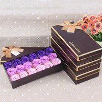 18 stücke Duftstoff Romantische Rose Blume Blütenblatt Seife Hochzeit Party Dekoration Valentinstag Geschenk (mit einer Geschenkbox) 182 k2