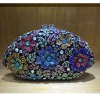 Lady Dazzling Blue silver Flower Crystal Clutches Bags Evening Clutch Purse Bag Women Formal Dinner Handbag Wedding Bridal