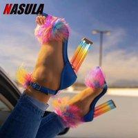 NASULA 2020 kadın Yüksek Topuk Sandalet Yaz Açık Ayakkabı Renkli Tıknaz Topuk Seksi Moda Balık Ağız Artı Boyutu 46 LJ201112