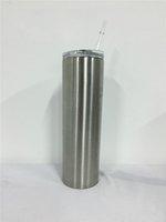 30oz nature couleur sublimation skinny gobelet double mur droite buvette eau tasse à café à vide isolé avec couvercle en paille en métal