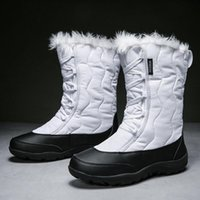 New Warm Snow Boots Women Zipper Platform Boots Solid Color ...
