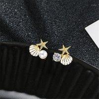 Stud 2021 Llegada de moda Simple Starfish Shell Pendientes de perlas para las mujeres Simulated Gold Color Metal Jewelry1