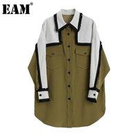 [EAM] Женщины Pattern напечатаны большой размер длинной блузки Новый отворот с длинным рукавом свободная подходит рубашка мода прилив весна осень 1da300 201201