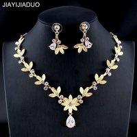 Ohrringe Halskette Jiayijiaduo Frauen Hochzeit Schmuck Set Gold Silber Farbe Raffiniertes Blatt Zirkon Zubehör Geschenk 2021