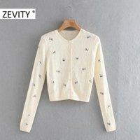 Zevity nuova delle donne dolce del fiore ricamo maglieria maglione Lady base O maniche lunghe Petto Casual Chic Cardigan Top S450