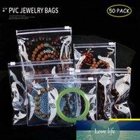 50PCS ПВХ Jewelry хранения сумки Slide Light Blue Luxury Jewel Пластиковые молнии Сумка Антиоксидантные Кольца Бусы Ожерелье Gem