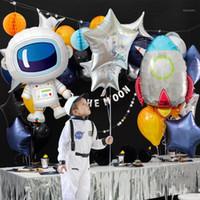 حزب الديكور gihoo 5 قطع رائد فضاء سفينة الصواريخ احباط بالونات الخارجي الفضاء السعيد عيد سعيد المجرة ديكورات أطفال بالون استحمام الطفل 1