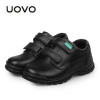 UOVO Детская обувь 2019 Весна и осень Черные Натуральные Кожаные Обувь Школьные Студенты Дети Случайные для мальчиков # 30-371