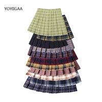 Faldas de pliegues de las mujeres 2020 Falda de tela escocesa de las mujeres dulce del verano de la cintura alta de la línea de las señoras Mini faldas de la moda Chicas Chicas Falda corta J0118