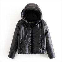 AGong Hooded PU Leather Parkas Women Fashion High Imitation ...