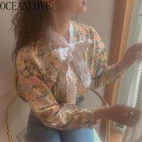 Oceanlove Chic coréen Femmes Floral Tops et Blouses Bow Vintage printemps 2020 chemises printemps dentelle de lace de mode blusas mujer lj200831