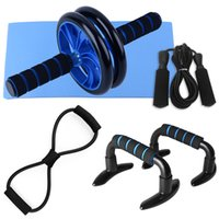 5 pcs Home Gym Fitness Set Abdominal Rouleau Rouleau AB Rouleau AB Rouleau Abdominal 8 Forme Résistance Bande Jump Corde Push Up Bars Pack Y201011
