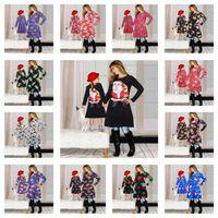 Ropa a juego de la familia de Navidad 2020 hija de la madre de los vestidos a juego de dibujos animados de la falda de Navidad Imprimir padres e hijos de vestir Trajes E101901