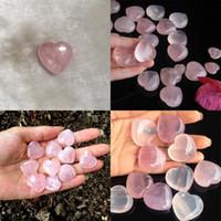 Натуральная розовая кварца в форме сердца влюбленности Мини кристалл чакра заживление домашнего декора Рейки целебный камень любви драгоценные камни DIY ювелирные изделия 85 г2