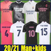 20 21 Real Madrid Jersey Man Kit Enfants Kit Valverde Hazard Jersey Football Moduric Vinicius JR Sergio Ramos Benzema Asensio Camiseta Real Madrid